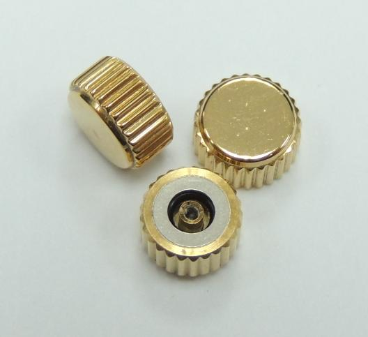 Diameter 6.5mm x Tube 2.5mm Gold Waterproof Crown (Packing of 3 pcs)