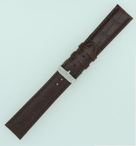 Brown 20mm Crocodile Grain Calf Leather Strap (Nagata), SS Buckle