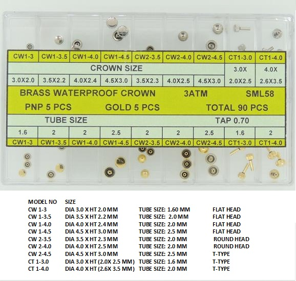 Brass Waterproof Crown Assortment Tap 0.70 MM