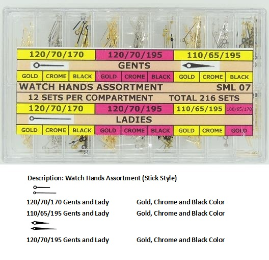 Watch Hand Assortment - Dauphin & Stick Style in Yellow, White and Black Color (216 sets)