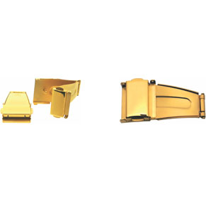 UT006G 12 MM Metal Band Buckle with Two Pushers (Gold Color)